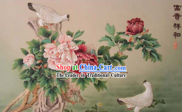 Chinese Classic Hand Carved Wood House Solid Decorative Painting-Pigeon