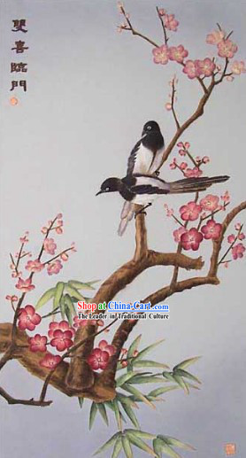 Chinese Classic Large Hand Carved Wood House Solid Decorative Painting-Double Happiness