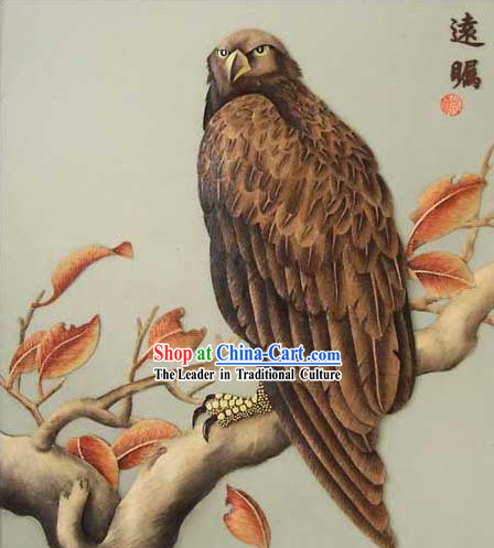 Chinese Classic Hand Carved Wood House Solid Decorative Painting-Hawk