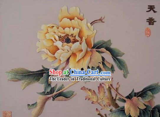 Chinese Classic Hand Carved Wood House Solid Decorative Painting-Prosperous Peony