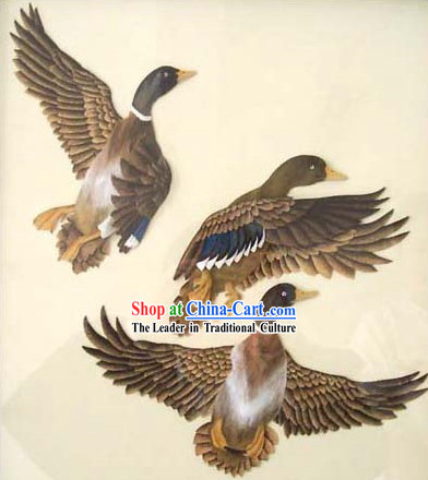 Chinese Classic Hand Carved Wood House Solid Decorative Painting-Ducks