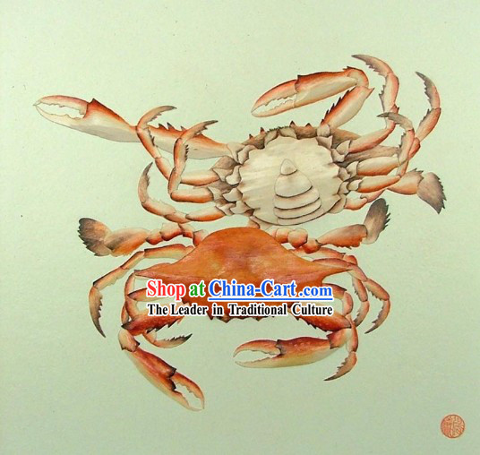 Chinese Classic Hand Carved Wood House Solid Decorative Painting-Crab