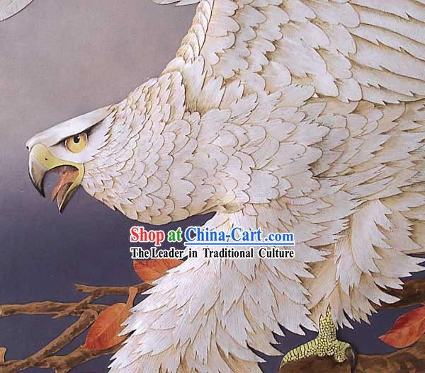 Chinese Classic Hand Carved Wood House Solid Decorative Painting-Hawk King