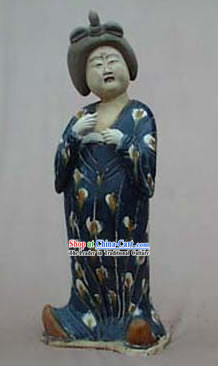 Large Chinese Archaized Tang San Cai Statue _Tri-colour Glazed Pottery_-Tang Dynasty Fat Lady
