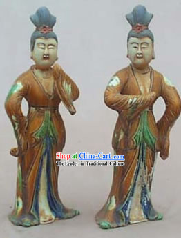 Chinese Classic Archaized Tang San Cai Statue-Tang Dynasty Dancing Women _Two Pieces Set_