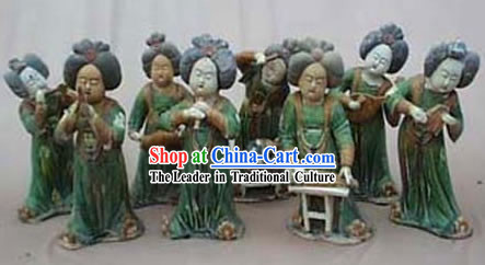 Chinese Classic Archaized Tang San Cai Statue-Tang Dynasty Palace Musicians _Eight Pieces Set_