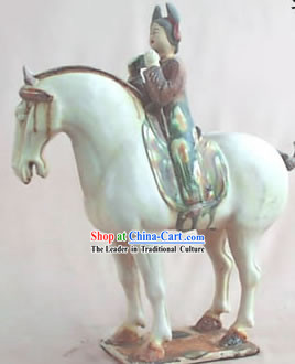 Chinese Classic Archaized Tang San Cai Statue-Tang Dynasty Riding Woman