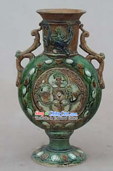 Chinese Classic Archaized Tang San Cai Statue-Twin Phoenix Shaped Handle Flat Jar