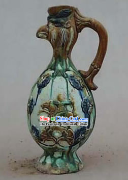 Chinese Palace Archaized Tang San Cai Statue-Phoenix Head Kettle