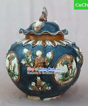 Chinese Classic Archaized Tang San Cai Statue-Tang Dynasty Lottus Leaf Lidded Jar