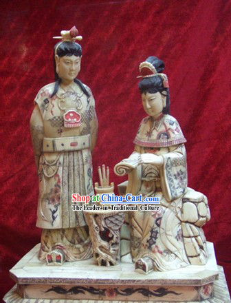 Chinese Classic Ox Bone Handicraft Sculpture Statue-Dream of Red Chamber