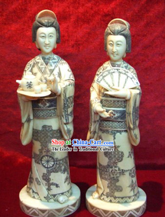 Chinese Classic Ox Bone Handicraft Sculpture Statue-Japanese Tea Women Pair
