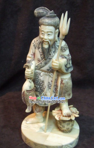 Chinese Classic Ox Bone Handicraft Sculpture Statue-Fishing Man