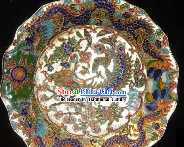 Chinese Classic Cloisonne Craft-Dragon Playing with Phoenix