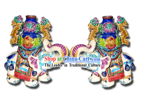 Chinese Cochin Ceramics-Elephant with Wealthy Bottle
