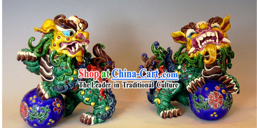 Chinese Cochin Ceramics-Lion Kings Playing with Ball