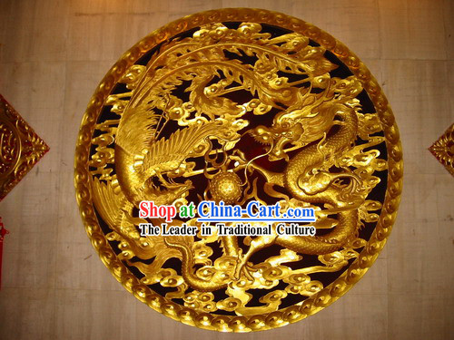 Chinese Palace 100% Hand Carved Golden Dragon and Phoenix Large