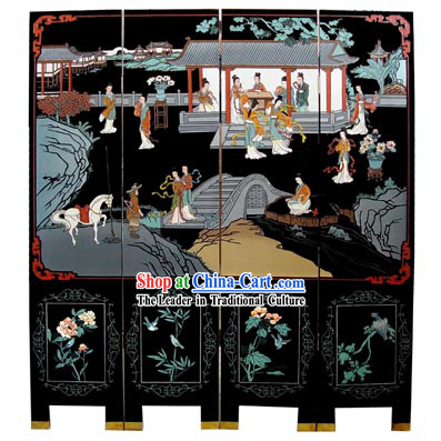 Chinese Classic Lacquer Folding Screen-Ancient Palace