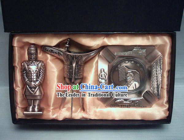 Marvellous China Terra Cotta Warrior Gift Set_three pieces set_