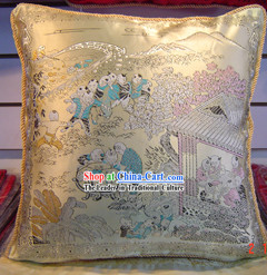 Chinese Classic Silk Cushion-Hundreds of Children