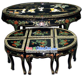 Chinese Stunning Palace Lacquer Ware Table and Stool Set