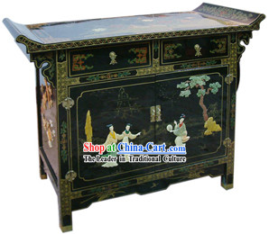 Chinese Palace Lacquer Ware Cabinet-Three Beauties A Story