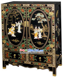 Chinese Traditional Large Lacquer Ware Cabinet-Beauty