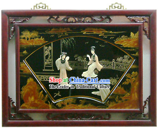 Chinese Palace Hanging Lacquer Ware Mirror Series-Chatting Beauties