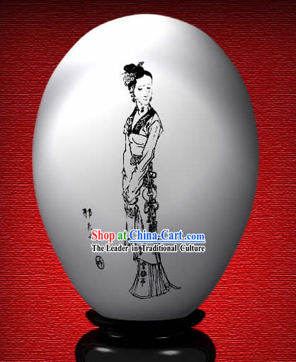 Chinese Wonder Hand Painted Colorful Egg-Xing Lady of The Dream of Red Chamber