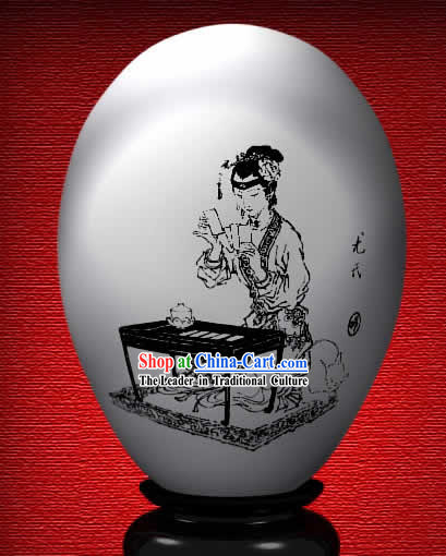 Chinese Wonder Hand Painted Colorful Egg-You Shi of The Dream of Red Chamber
