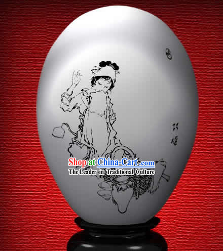 Chinese Wonder Hand Painted Colorful Egg-Qiao Jie of The Dream of Red Chamber