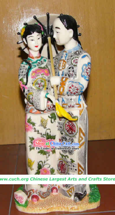 Hand Made Chinese Colophony Statue-Ancient Love