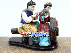 Hand Made Foshan Artistic Ceramics Statue-Ancient Lover