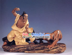Hand Made Chinese Shi Wan Ceramics-Wu Song Taming the Tiger