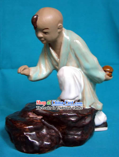 Chinese Hand Made Shi Wan Ceramics-Child Catching Cricket