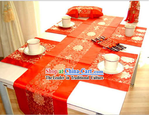 China Red Silk Table Runners Set(seven pieces substantial set)