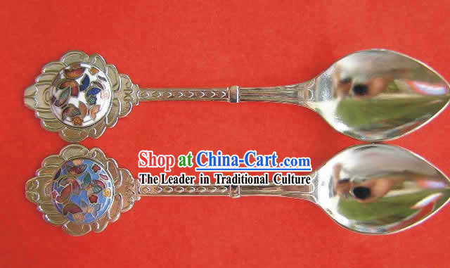 Chinese Cloisonne Coffee Spoon for Lovers(two pieces)1