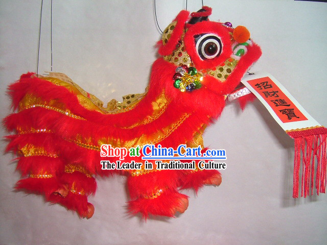 Chinese Classic Handmade Hand Puppet-Red Lion Dance