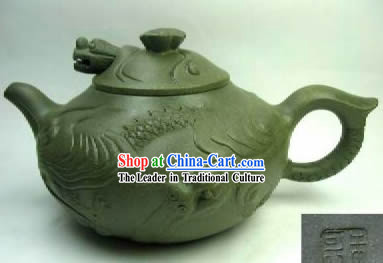 Chinese Hand Made Green Clay Teapot-Fish and Dragon
