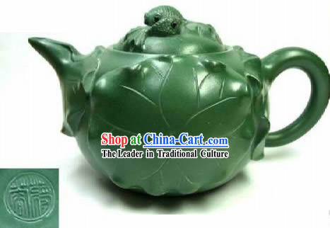 Chinese Classic Hand Made Green Clay Teapot-Goldfish