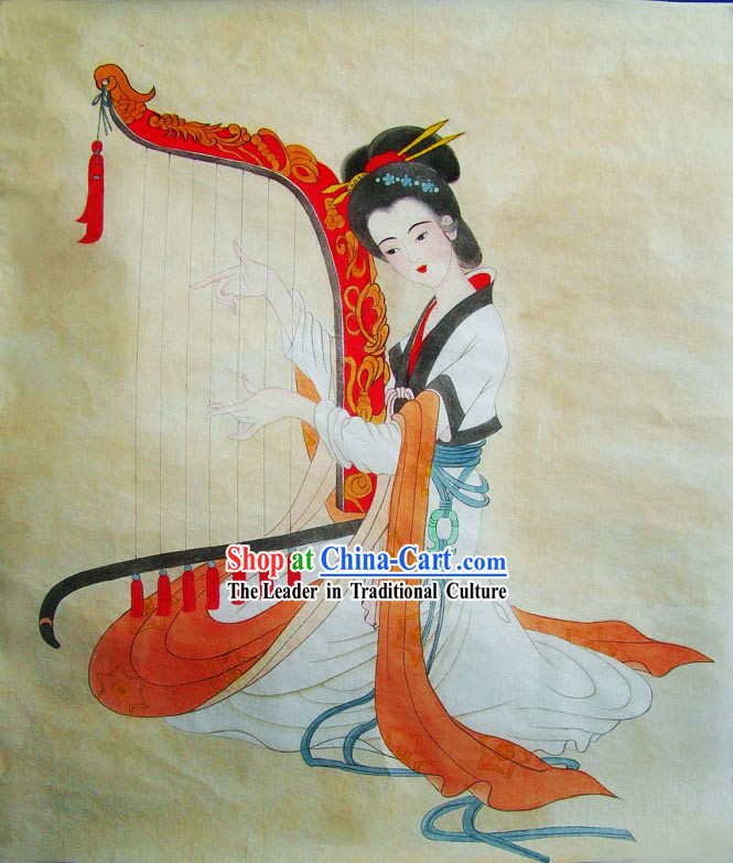 Chinese Traditional Painting-Ancient Palace Harp Playing Beauty