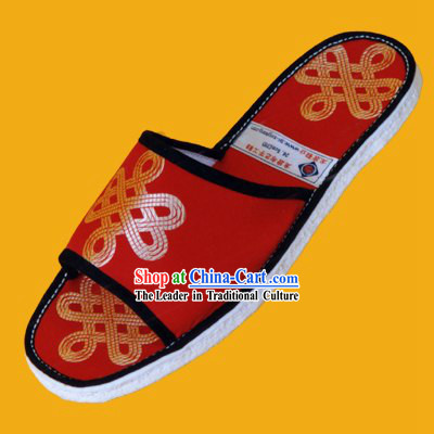 Chinese Hand Made Folk Cloth Slippers-China Tie