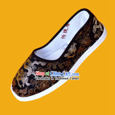 Chinese Hand Made Folk Dragon Cloth Shoes for Man