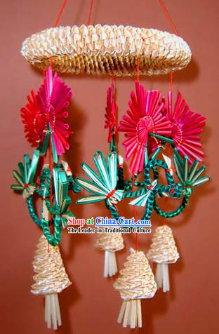 China Hand Made Wheat Stalk Windbell-Mandarin Ducks Playing Water
