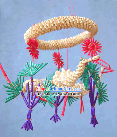 China Hand Made Wheat Stalk Windbell-Cranes Bless Healthy