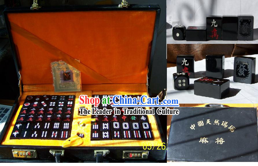 Chinese Nature High-class Black Agate Mahjong Imperial Set_144 pieces_
