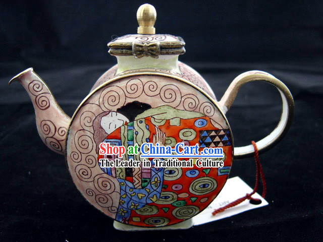 Chinese Hand Painted Enamel Colorful Kettle-Hug