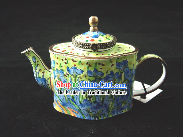 Chinese Hand Painted Enamel Kettle-Flower-de-luce