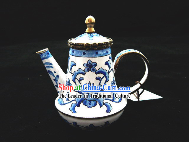 Chinese Traditional Hand Painted Enamel Kettle-Blue Flower