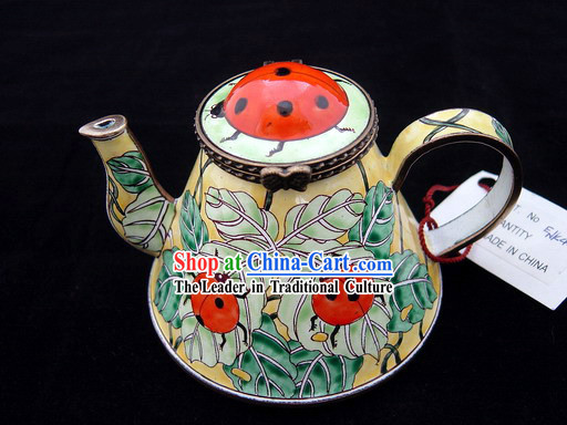 Chinese Hand Painted Enamel Kettle-Red Ladybird Beetle